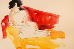 Naakt, 2013, pen en aquarel op papier